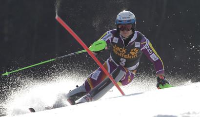 Norway's Kristoffersen clears pole during men's slalom at World Cup in Kranjska Gora