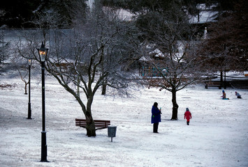 A woman takes a photograph as children walk and roll snowballs in a park after snow fell in the town of Mount Victoria, located in the Blue Mountains west of Sydney