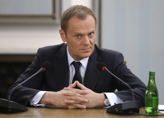 Poland?s Prime Minister Tusk testifies in front of the Gambling Commission at the polish parliament in Warsaw