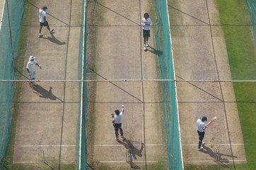 India's players practise in the nets ahead of their second test cricket match against New Zealand in Hyderabad