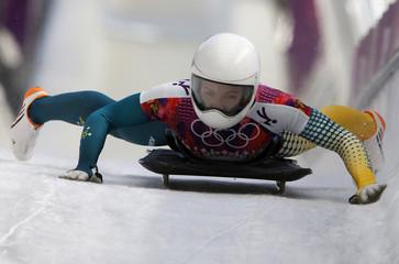 Australia's Michelle Steele finishes the women's skeleton event at the 2014 Sochi Winter Olympics at the Sanki Sliding Center