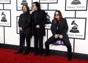 Heavy metal band Black Sabbath, Geezer Butler, Tony Iommi and Ozzy Osbourne arrive at the 56th annual Grammy Awards in Los Angeles