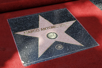 The newly unveiled star belonging to Mexican singer Marco Antonio Solis is seen on the Hollywood Walk of Fame in Hollywood