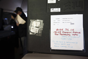 A message regarding the proper location for the vote scanning machine is seen in a polling site for the U.S. presidential election built to service residents of the Queens borough neighborhoods of Breezy Point and the Rockaways in New York