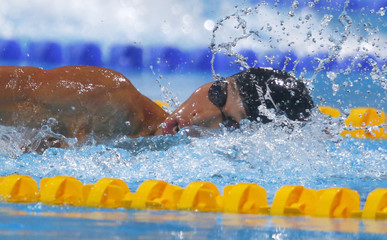 Hagino of Japan competes in men's 200m individual medley heats during the World Swimming Championships in Barcelona
