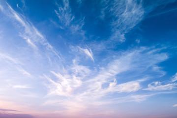 Beautiful two tone sky. Bright blue pink sunset