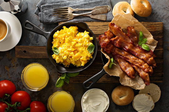 Big breakfast with bacon and scrambled eggs