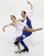 Zhiganshina and Gazsi of Germany perform during ice dance free dance competition at European Figure Skating Championships in Bern
