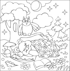 Illustration of little sleeping bear for coloring. Black and white worksheet for children. Vector image.