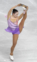Maxwell of Luxembourg performs during her women's short programme at the European Figure Skating Championships in Sheffield