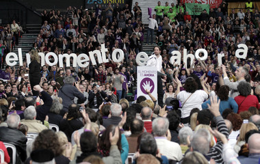 Podemos ('We can') Party secretary general Pablo Iglesias delivers a speech during a party meeting in Valencia