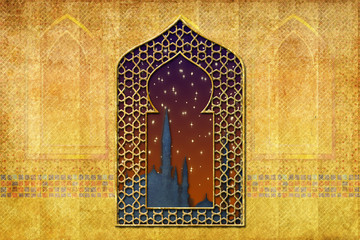 Ramadan kareem Eid Mubarak islamic muslim holiday background with eid lanterns or lamps and mosque