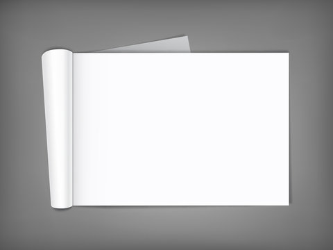 Blank magazine with rolled pages.