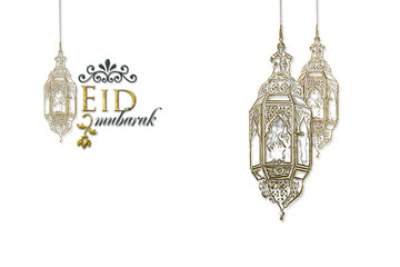 Eid Mubarak Ramadan Kareem muslim islamic holiday background with arabic oriental eid lantern or lamp and mosque