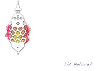 Eid Mubarak Ramadan Kareem muslim islamic holiday background with arabic oriental eid lantern or lamp and mosque