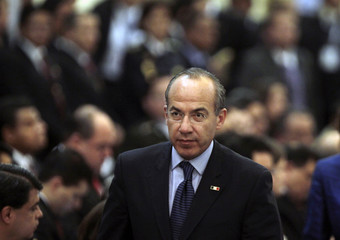 President Of Mexico Felipe Calderon arrives at the Central America Security Conference in Guatemala City