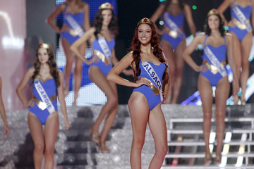 Wespiser takes part in the swimsuit segment of the Miss France 2012 pageant in Brest