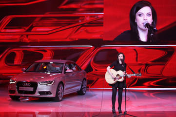 Scottish singer Macdonald performs at Audi's exhibition stand during the first media day of the 81st Geneva Car Show