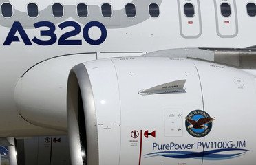 A jet engine of the Airbus A320neo is pictured after its first flight in Colomiers near Toulouse, southwestern France