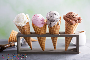 Variety of ice cream cones Wall mural