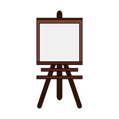 color image cartoon wooden easel for drawing vector illustration