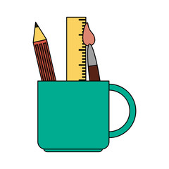color image cartoon pencil holder with brush and ruler vector illustration