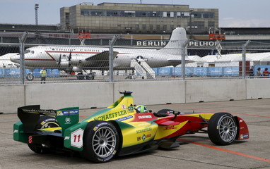Audi Sport ABT driver Di Grassi drives a Formula E car during a qualifying round for a Championship race at former Tempelhof airport in Berlin