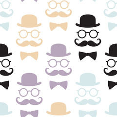Seamless pattern with gentlemen. Vector illustration. Suitable for textiles, wallpapers, wrappers, covers gift wrapping