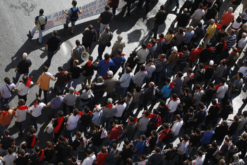Overhead view of Greece's Communist party march during a 24-hour labour strike