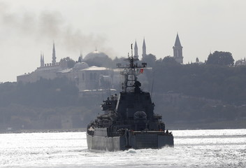 The Russian Navy's large landing ship Novocherkassk, with the Ottoman-era Topkapi Palace in the background, sails in the Bosphorus, on its way to the Mediterranean Sea, in Istanbul, Turkey