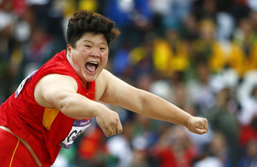China's Gong Lijiao competes in the women's shot put final at London 2012 Olympic Games