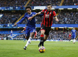 Chelsea's Willian in action with Bournemouth's Charlie Daniels