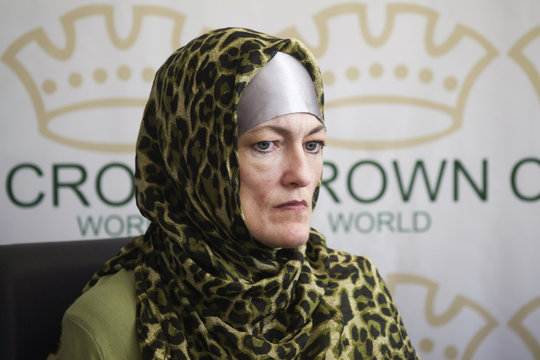 Mellissa Carter, Reel Knights film and television development & production studio Chief Operations Officer, attends a news conference in Tehran