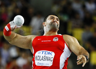 Asmir Kolasinac of Serbia competes in the men's shot put final at the IAAF World Championships in Daegu