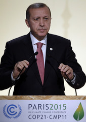 Turkish President Erdogan delivers a speech during the opening session of the World Climate Change Conference 2015 (COP21) at Le Bourget