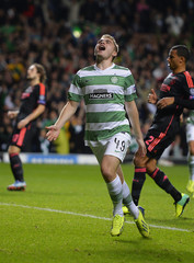 Celtic's Forrest celebrates his goal against Ajax during their Champions League soccer match in Scotland