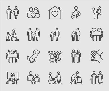 Family relation line icon