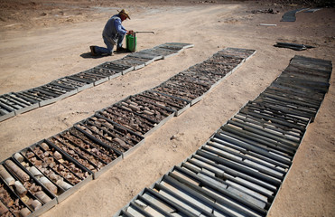 FILE PHOTO: Geologist Rick Cavaney works near collected core samples in the Eastern Desert near the southern province of Luxor