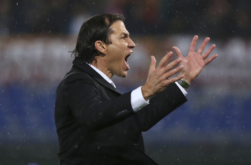 AS Roma's coach Garcia reacts at the end of his Italian Serie A soccer match against Inter Milan at the Olympic stadium in Rome