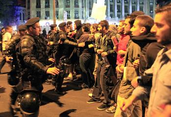 Gendarmes block demonstrators attempting to march on one of Bucharest's main boulevards