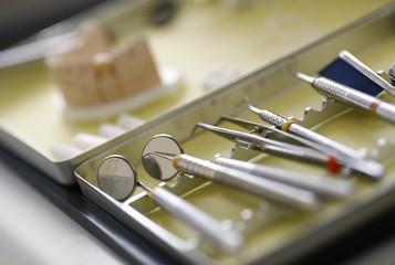 Dentist tools are photographed in the surgery room of dentist Sevan Arzuyan in Hanau near Frankfurt