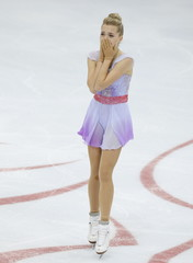 Radionova of Russia reacts after winning the ladies program at the Rostelecom Cup ISU Grand Prix of Figure Skating in Moscow