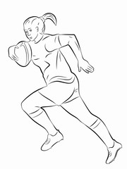 illustration of a rugby player, vector draw