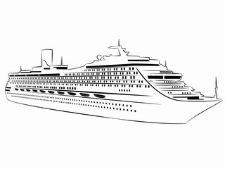 illustration of passenger ship. vector drawing
