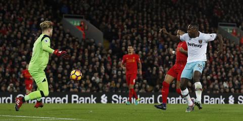 West Ham United's Michail Antonio scores their second goal