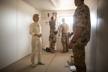 German Defence Minister von der Leyen visits a modular building for soldiers of German contingent as she visits Camp Castor in Gao