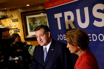 U.S. Republican presidential candidate Ted Cruz (R-TX) and vice presidential candidate Carly Fiorina speak to the media at the Indiana War Memorial in Indianapolis, Indiana