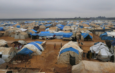 A general view shows of the Bab Al-Salam refugee camp in Azaz, near the Syrian-Turkish border
