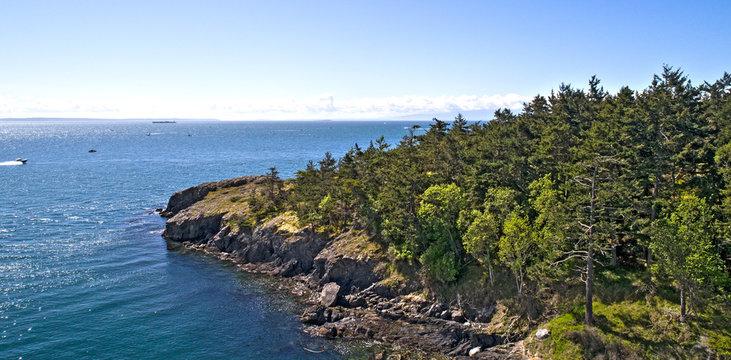 Fidalgo Island, Anacortes Washington - San Juan Islands - Fishing Boats Traveling in the Ocean Along the Coast
