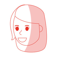 red shading silhouette cartoon side view face girl with short hair vector illustration